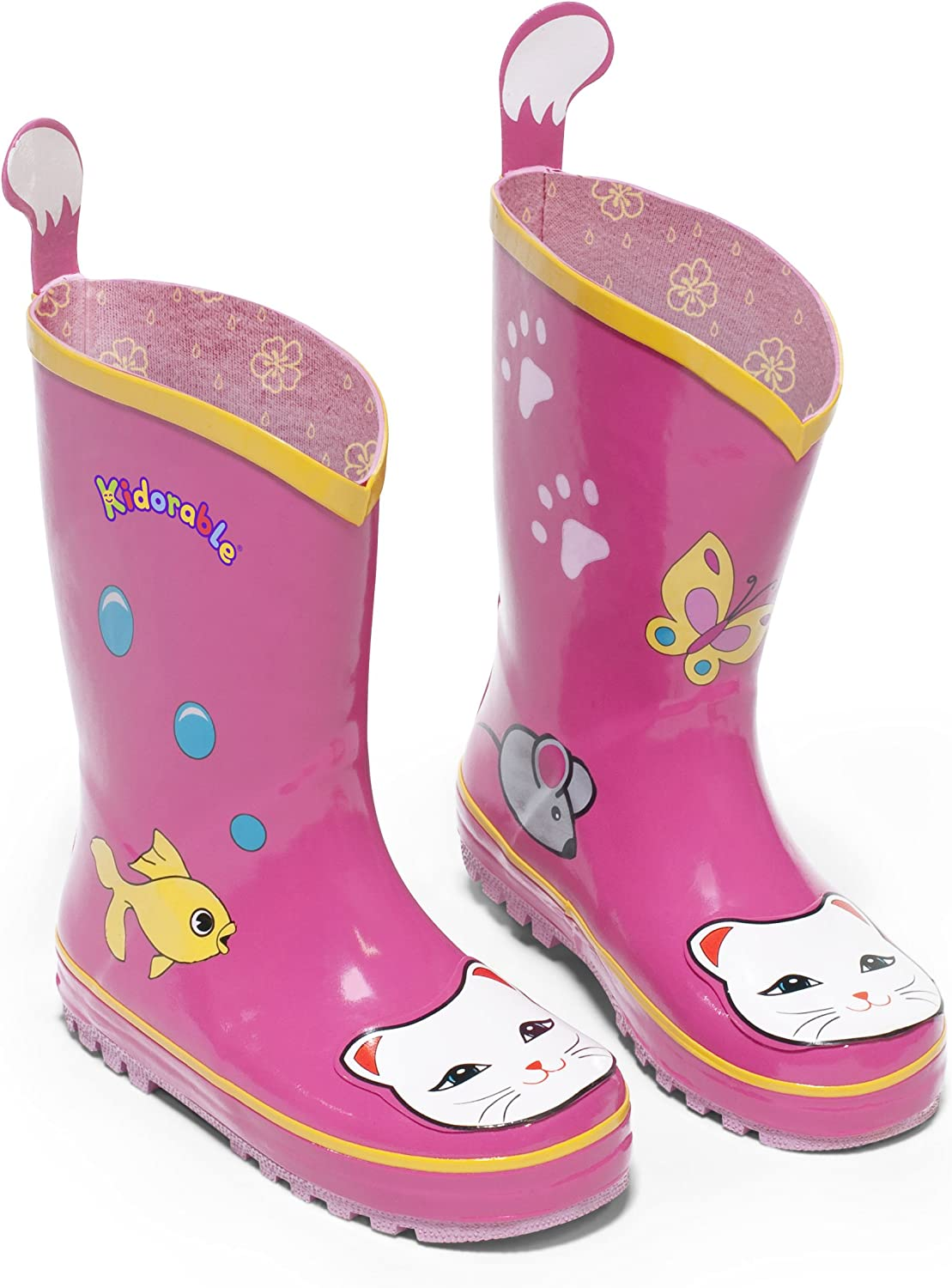 B0029K2E6M Kidorable Lucky Cat Rainboots, Pink, Kids Sizes, Natural Rubber Boots with Cotton Lining, Pull On Heel Tab & Non-Slip Sole 81fG1ckhVGL