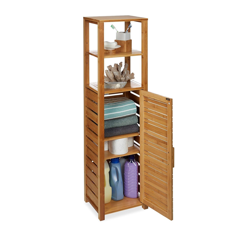 Relaxdays Estantería, Seis estantes, Mueble de baño, Resistente a la Humedad, Marrón, 119 x 33 x 25,5 cm, Bambú: Amazon.es: Hogar