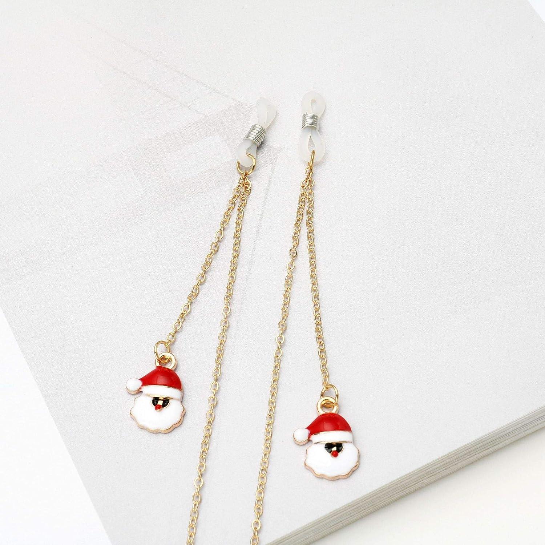 KinTTnyfgi. Colgante de Papá Noel Claus, Gafas de Cuerda, Gafas de Lectura, cordón de Metal, Cadena para Gafas cordón de Metal