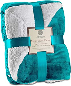 Genteele Sherpa Throw Blanket Super Soft Reversible Ultra Luxurious Plush Blanket (90 inches x 90 inches, Teal)
