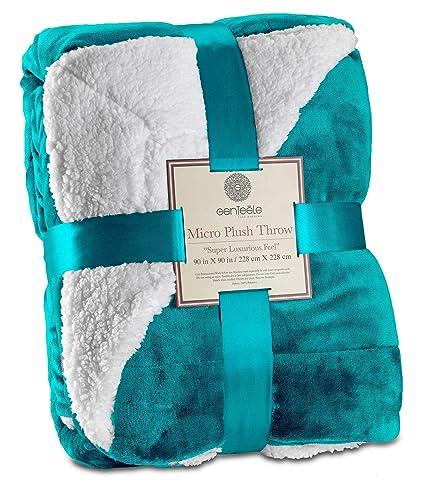 a6a4a1873b Amazon.com  Genteele Sherpa Throw Blanket Super Soft Reversible ...
