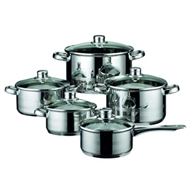 ELO Skyline Stainless Steel Kitchen Induction Cookware Pots and Pans Set with Air Ventilated Lids, 10-Piece