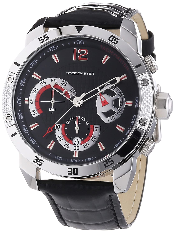 Steel Master Herren-Armbanduhr Chronograph Quarz Analog Leder - CAP1103221.A