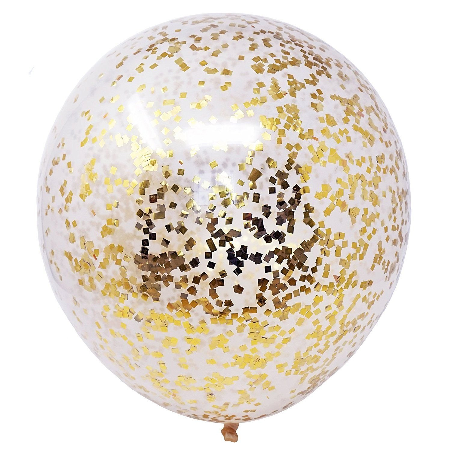6 Gold Flakes Confetti Clear White Balloons 18'' DIY Kit 50g Confetti Party Decor