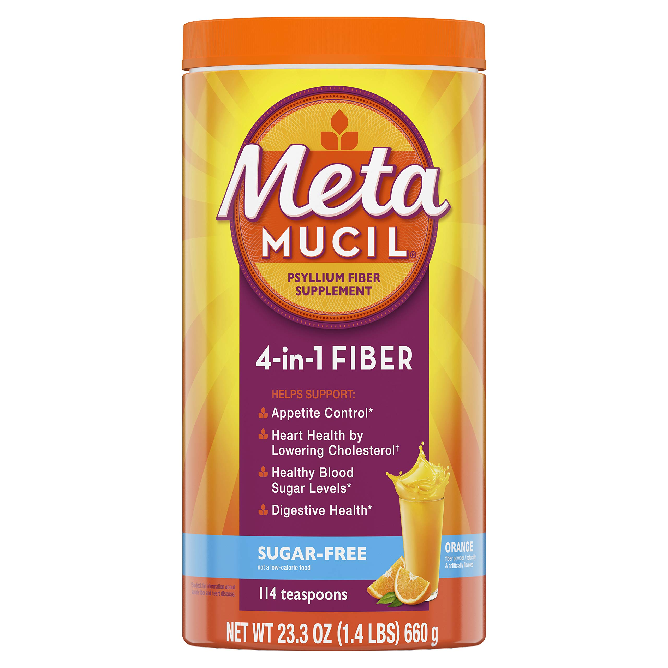 Metamucil Fiber, 4-in-1 Psyllium Fiber Supplement, Sugar-Free Powder, Orange Smooth Flavored Drink, 114 Servings (Packaging May Vary) by Metamucil