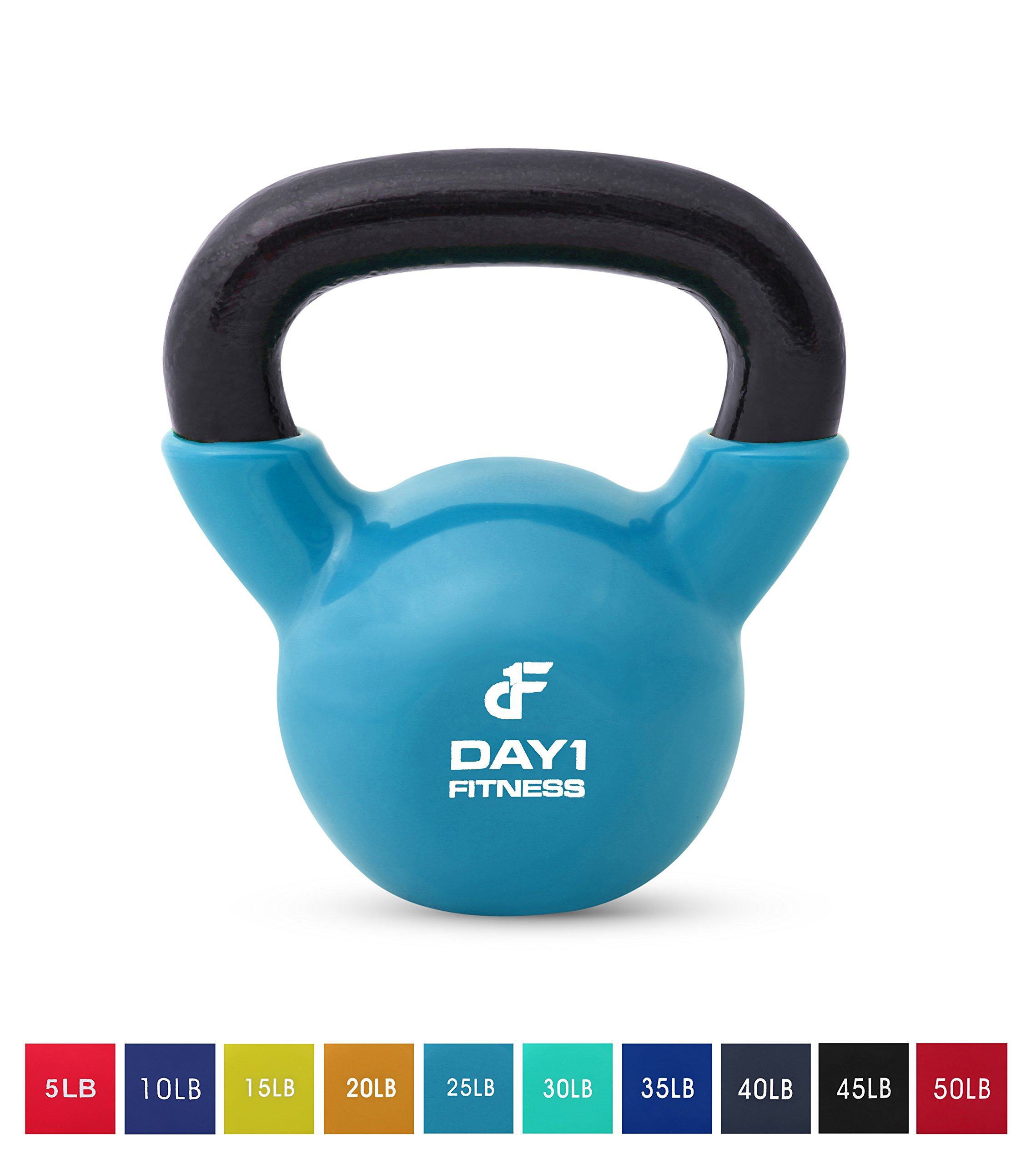 Day 1 Fitness Kettlebell Weights Vinyl Coated Iron 25 Pounds - Coated for Floor and Equipment Protection, Noise Reduction - Free Weights for Ballistic, Core, Weight Training by Day 1 Fitness (Image #1)