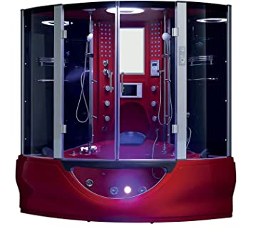 Valencia Steam Shower Sauna With Jetted Jacuzzi Whirlpool Massage (Red)