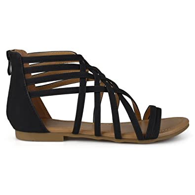 10c82cdba Amazon.com  Brinley Co Womens Hex Wide Width Strappy Gladiator Flat Sandals   Shoes