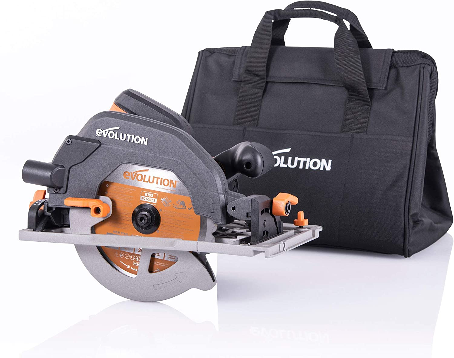 Evolution Power Tools - Sierra circular multimaterial R185CCSX+ con guía compatible (paquete plus con bolsa de transporte), 185 mm, 230 V