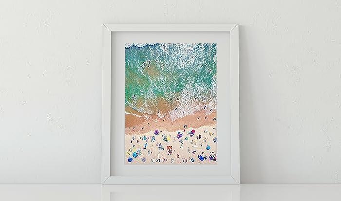 Amazon.com: Framed Wall Art, Aerial Beach Picture, Coastal Decor ...