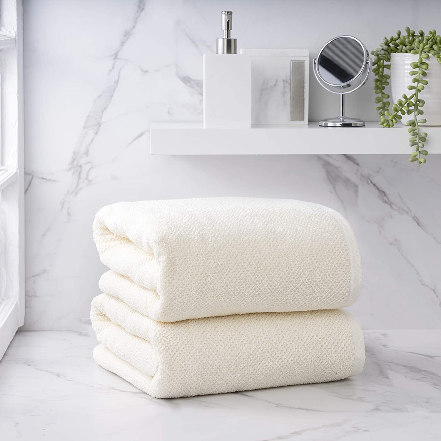 Welhome Franklin Premium 100% Cotton 2 Piece Bath Sheets   Cream   Popcorn Textured   Highly Absorbent   Durable   Low Lint   Hotel & Spa Bathroom Towels   600 GSM   Machine Washable