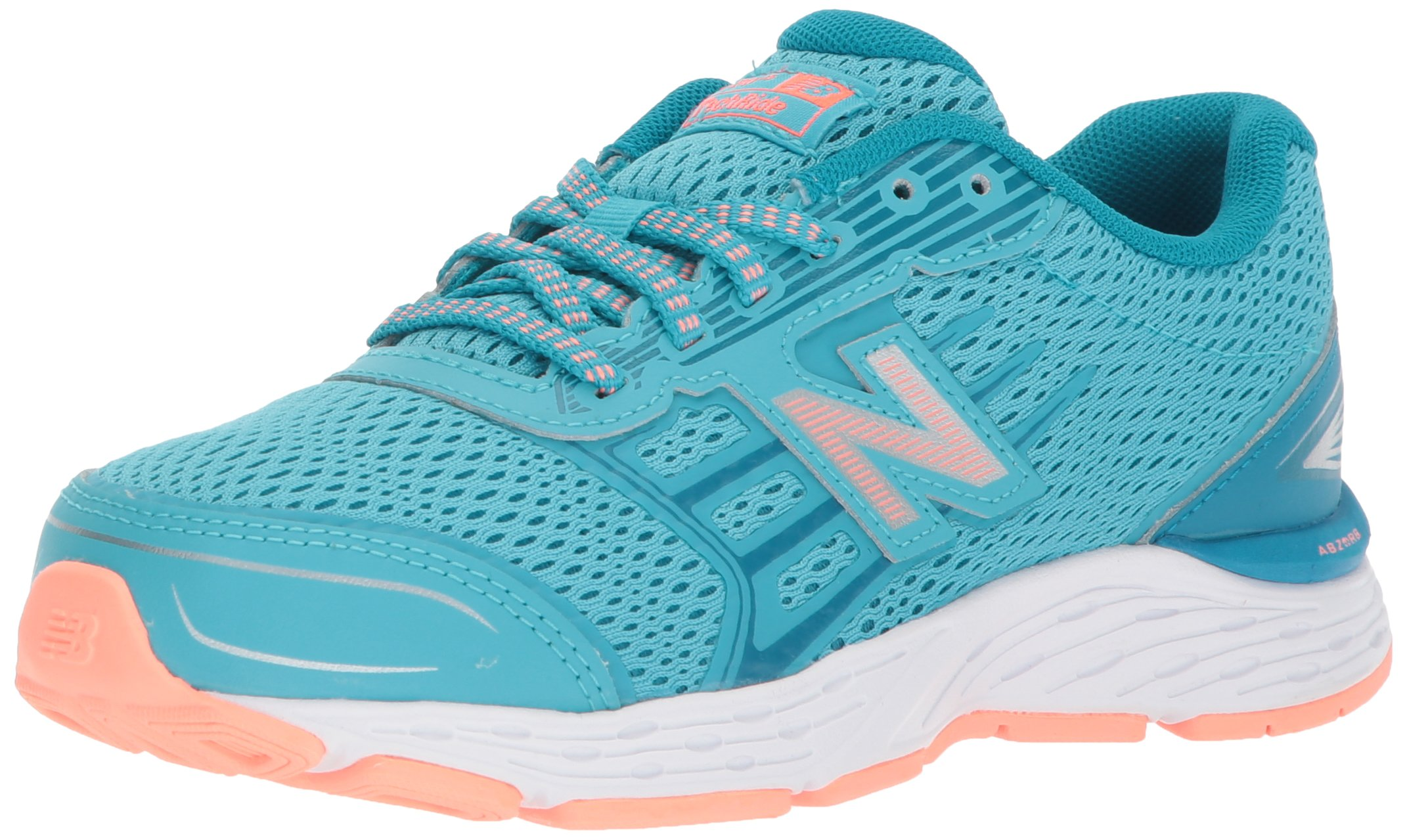 New Balance Girls' 680v5 Running Shoe, Ozone Blue/Fiji, 12 M US Little Kid