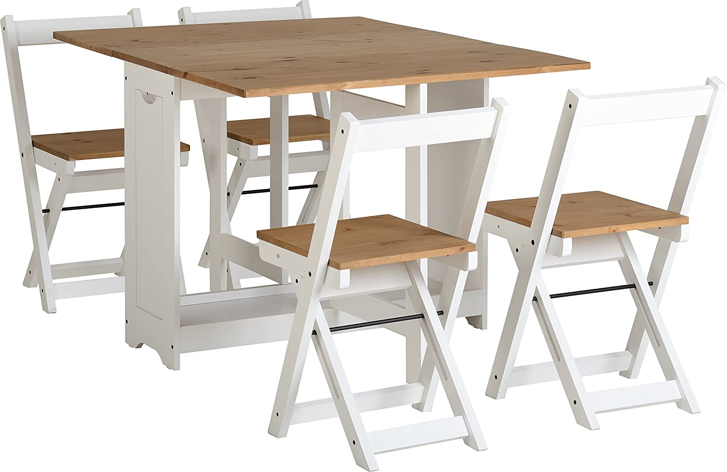 White Pine Butterfly Drop Leaf Foldaway Dining Set With 4 Foldaway Chairs Amazon Co Uk Kitchen Home