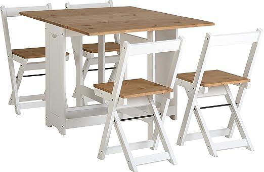 Conjunto de mesa con 4 sillas plegables, color blanco y madera de pino: Amazon.es: Hogar