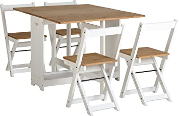 70ff676840a1d White   Pine Butterfly Drop Leaf Foldaway Dining Set with 4 Foldaway chairs.