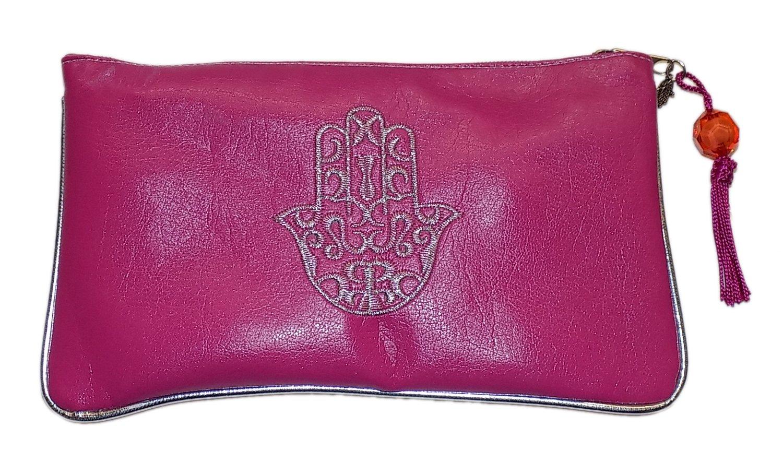 Moroccan Cosmetic Makeup Faux Leather Pencil Pouch Purse Wallet Hamsa Magenta
