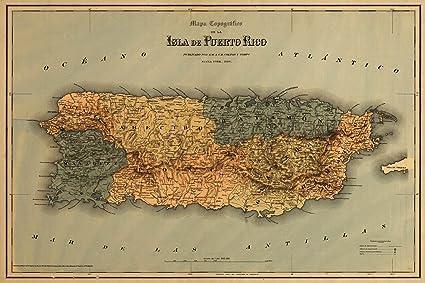 Amazon.com: Mapa topografico de la isla de Puerto Rico circa 1886 ...