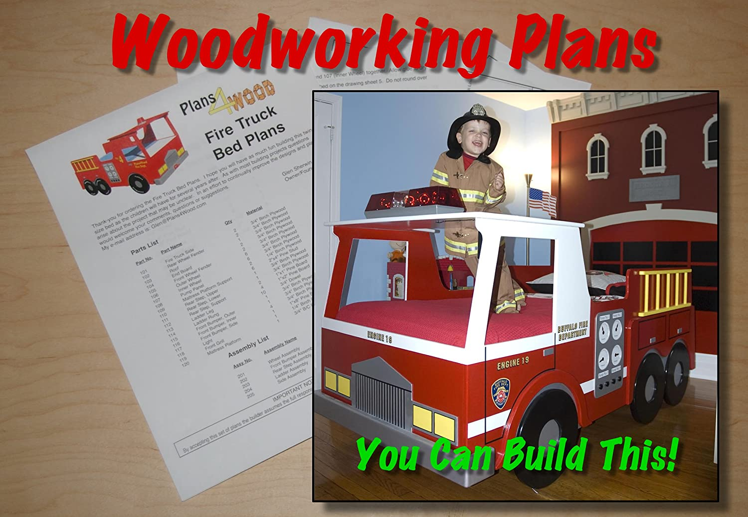 Woodworking Plan for Fire Truck Bed with Full Scale Curves (Twin ...