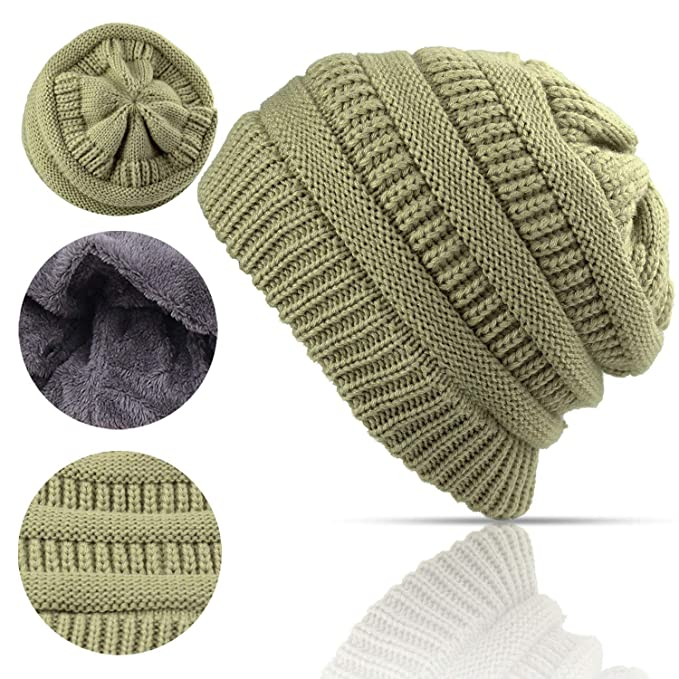 798cda62e9e Lobeve Cable Knit Beanie Winter Warm Fleeced Fuzzy Lined Skull Hat for  Womens Mens-Beige  Amazon.co.uk  Clothing