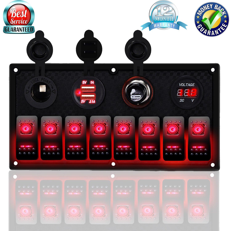 DCFlat 4 Gang / 6 Gang / 8 Gang Circuit LED Car Marine Waterproof 5 Pin Boat Rocker Switch Panel with Fuse Dual USB Slot LED Light + Power Socket Breaker Voltmeter for RV Car Boat (8 Gang-Red) by DCFlat