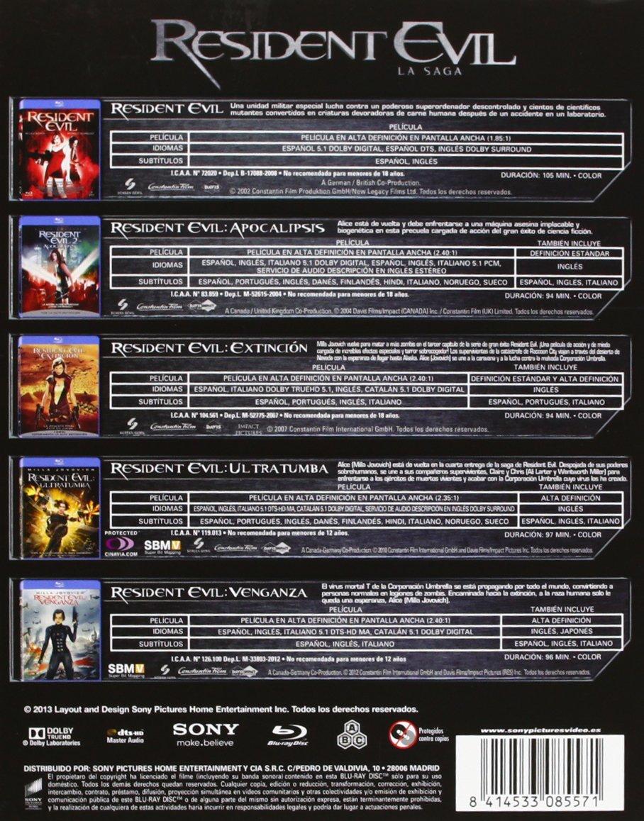 Resident Evil / Resident Evil Apocalipsis / Resident Evil Extinción / Resident Evil Ultratumba / Resident Evil Venganza Blu-ray: Amazon.es: Milla Jovovich, Sienna Guillary, Paul W.S. Anderson, Milla Jovovich, Sienna Guillary, Paul