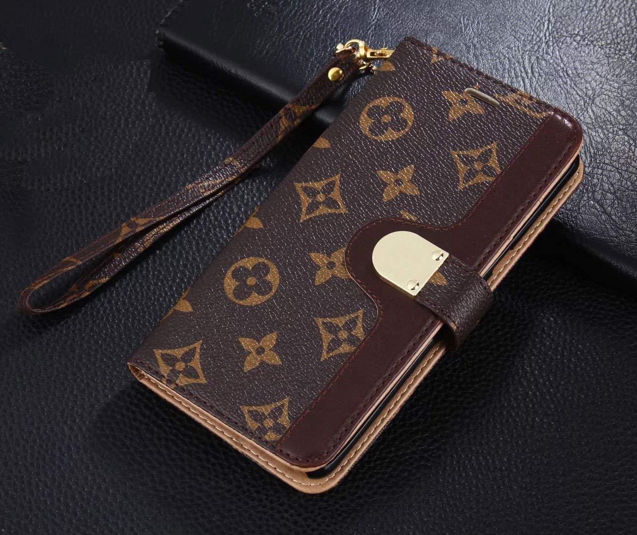 Luxury Elegant Bifold Magnetic Leather Clip Pocket Women Men Girls Boys Flip Wallet case for Apple iPhone 7 Plus and iPhone 8 Plus (Big Floral Monogram) (Brown1) by Chenglnn