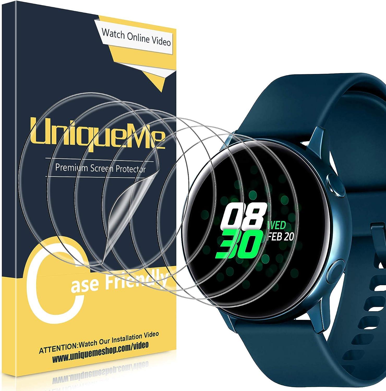 [6Pack] UniqueMe Protector de Pantalla para Samsung Galaxy Watch Active 40mm / Samsung Galaxy Watch Active 2 40mm, Película Transparente de Burbuja de TPU Huella Digital Disponible