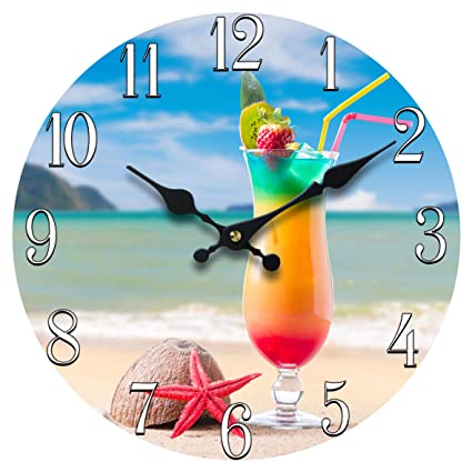 "Sea Creations 13"" Glass Beach Drink Clock"