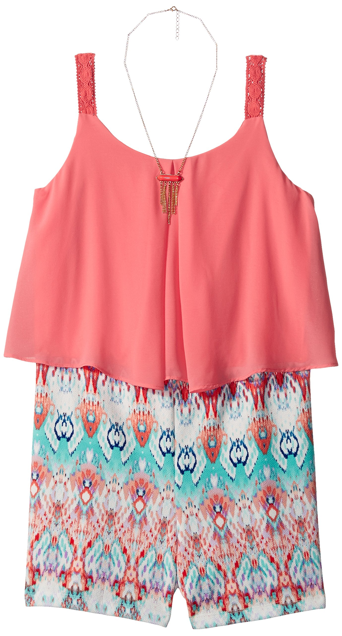 Amy Byer Big Girls' Popover Tank with Print Short, Color Coral, L