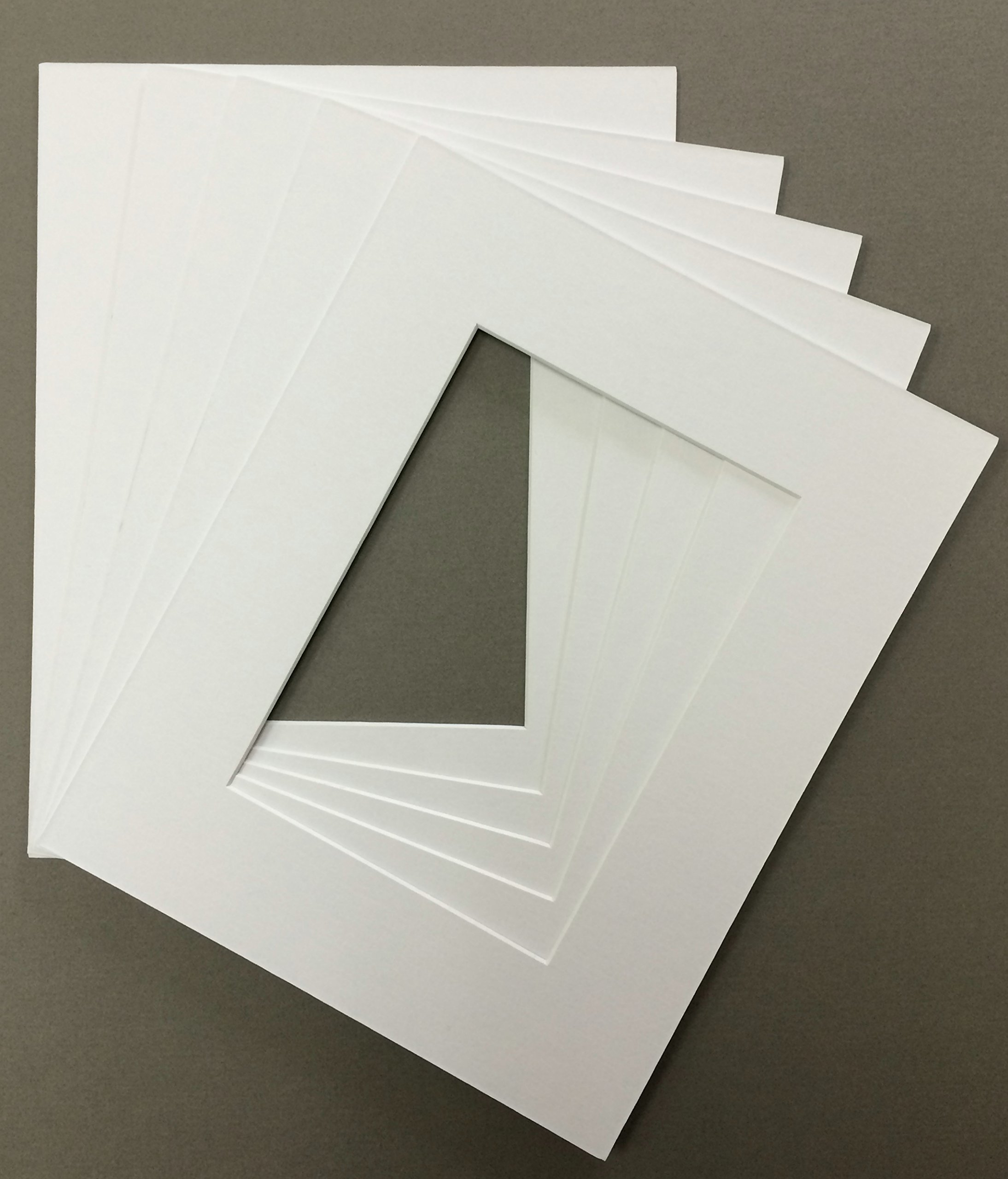 Pack of 5 18x24 White Picture Mats Mattes Matting with White Core Bevel Cut for 13x19 Pictures by bux1 picture matting