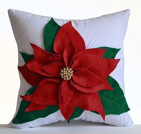 Amazon.com: Poinsettia Decorative Throw Pillow Cover Red ...