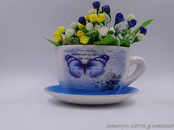 Beautiful Amazon Com Decorative Teacup Shaped Planter With BLUE Saucer Shabby Chic  Butterfly Design Ceramic Showpiece Garden Outdoor Amazing Ideas