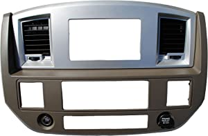 Custom Install Parts Khaki w/Silver Double Din Stereo Radio Dash Kit Install Bezel +Wiring Harness+Antenna Adapter Compatible with Dodge Ram 2006-2009(Khaki/Silver Standard Non Canbus Wire Harness)