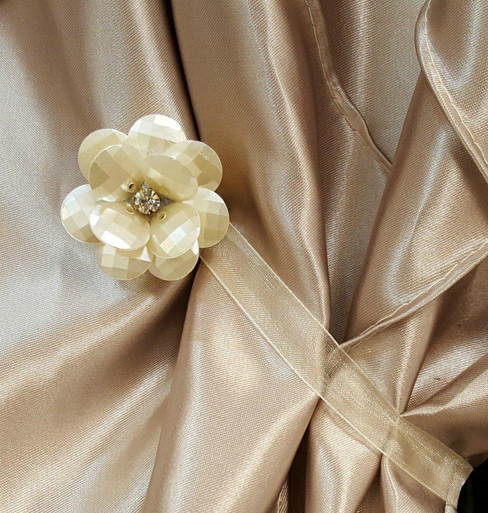 EleCharm 1 Pair Magnetic Drapery Tiebacks Clip Resin Milk White Flower Curtain Buckle by EleCharm (Image #3)