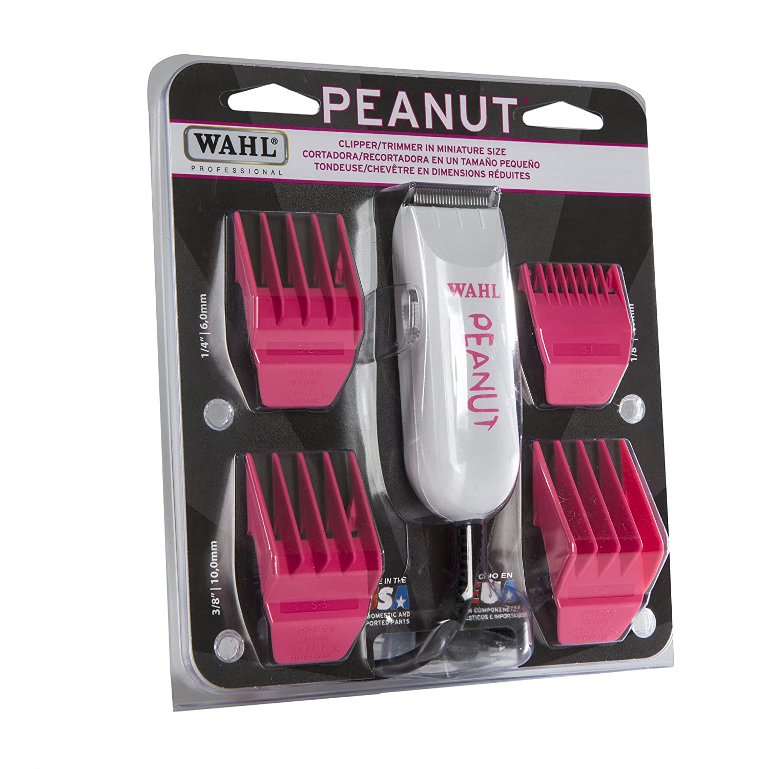 Wahl Professional Peanut Classic Clipper Trimmer 8685-1701, Pink Great for Barbers and Stylists Powerful Rotary Motor
