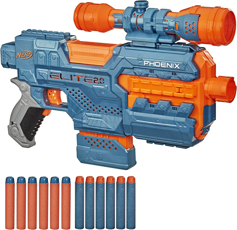 NERF Elite 2.0 Phoenix CS-6 Motorized Blaster, 12 Official Darts, 6-Dart Clip, Scope, Tactical Rails, Barrel and Stock Attachment Points