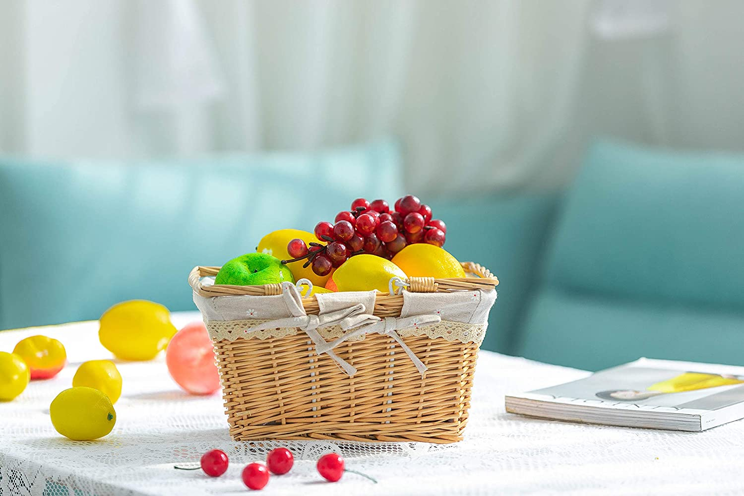 Wicker Easter Basket Bath Toy and Kids Toy Storage with Liner and Folded Hand Storage Basket Willow Country Picnic Basket Large Loffee/&sea Wicker Picnic Basket