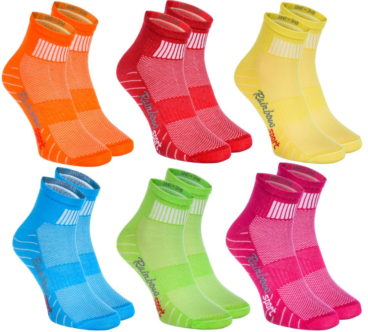 Rainbow SOCKSHOSIERY レディース B074G2QDW7 US 5.5-7 EU 36-38|6 X Orange, Red, Yellow, Turquoise, Green, Fuchsia 6 X Orange, Red, Yellow, Turquoise, Green, Fuchsia US 5.5-7 EU 36-38