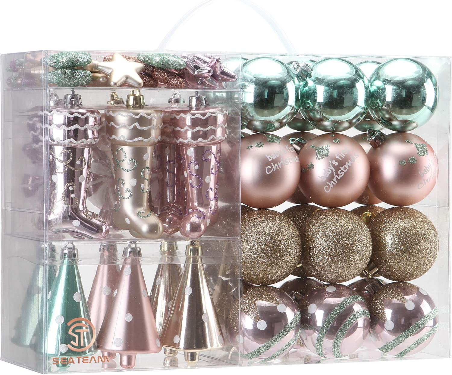Sea Team Assorted Shatterproof Christmas Ball Ornaments Set Decorative Baubles Pendants with Reusable Hand-held Gift Package for Xmas Tree 65PCS