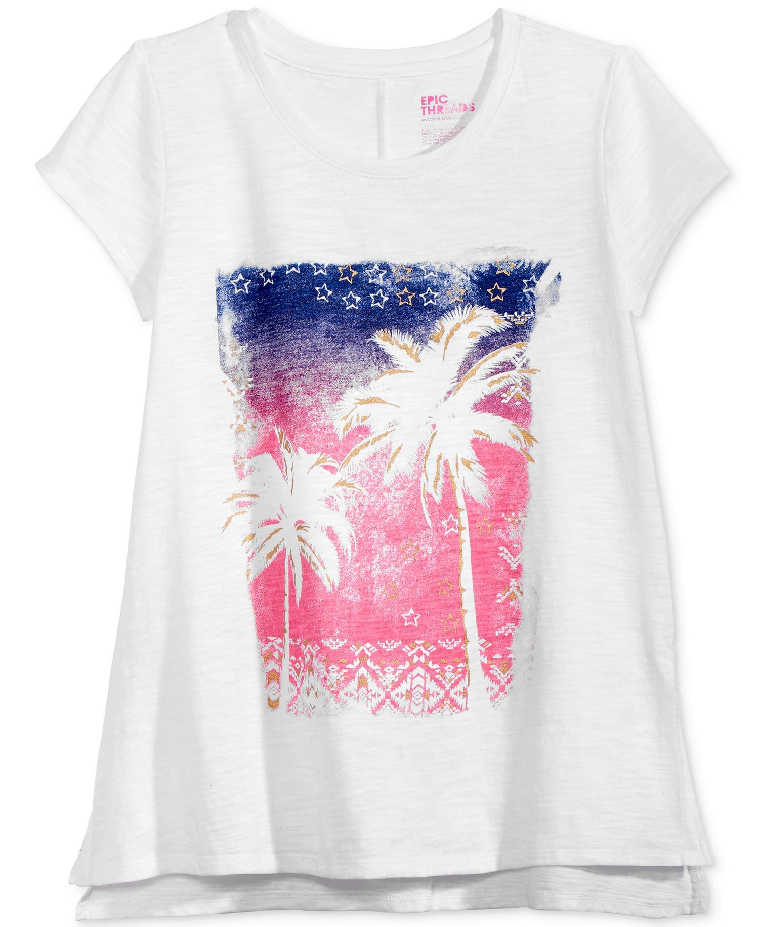 Epic Threads Big Girls' (7-16) Metallic Graphic-Print T-Shirt Bright White Medium