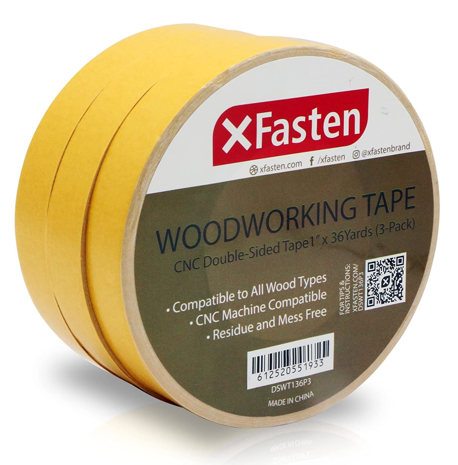 XFasten Double Sided Woodworking Tape, 1-Inch by 36-Yards, 3-Pack - Double Face Woodworker Turner's Tape for Wood Template, Removable & Residue Free