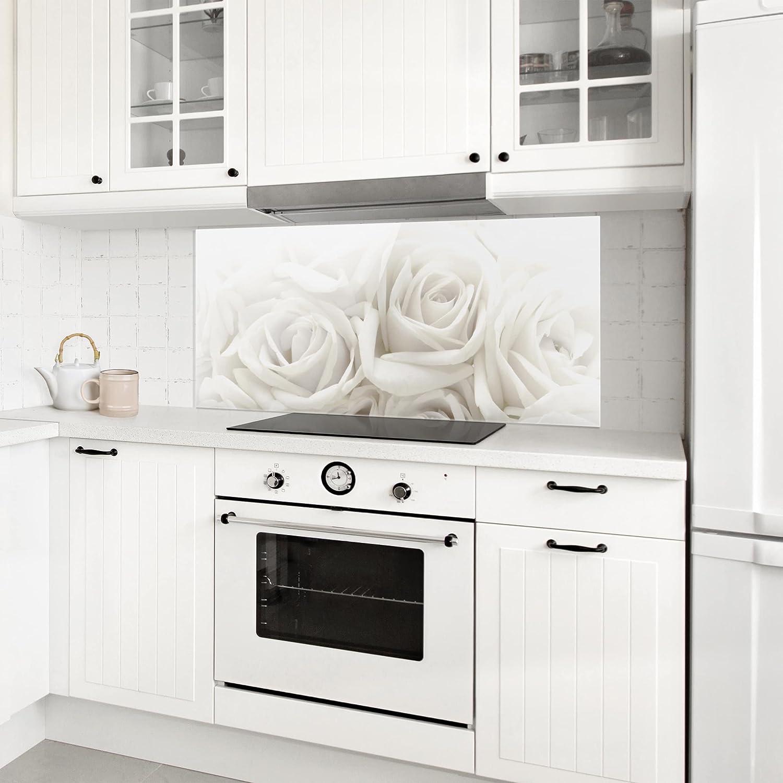 Bilderwelten Paraschizzi in vetro - White Roses - Panoramico ...