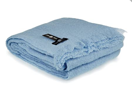 Mohair Wool King Size Blanket Throw Clear Skies Blue: Amazon co uk