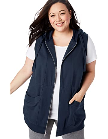 b6330a77ef72 Woman Within Women s Plus Size Zip-Front Hooded Tunic Vest