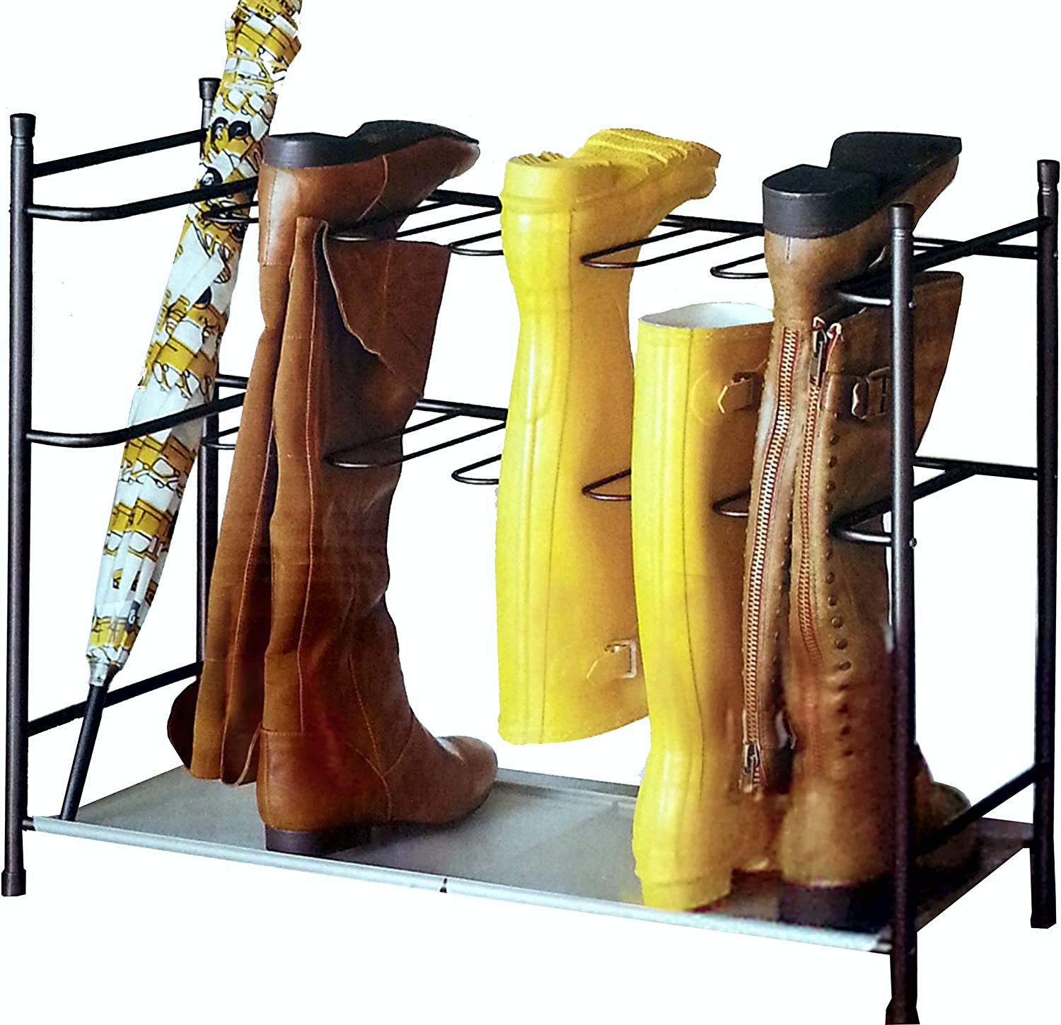 Amazon Com Better Homes Gardens Boot Shoe Organizer Storage Rack With Sturdy Space Saving Stackable Steel Frame For 6 Pair Bronze Home Kitchen