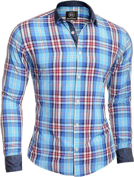D&R Fashion Camisa a Cuadros para Hombre Leñador Casual Cuello Vaquero y puños Azul Algodón: Amazon.es: Ropa y accesorios