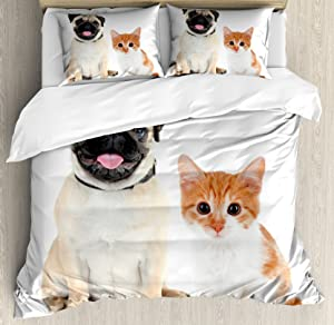 Ambesonne Pug Duvet Cover Set, Kitten and Puppy Photography Animal Fun Young Pets Happy Image, Decorative 2 Piece Bedding Set with 1 Pillow Sham, Twin Size, Orange White