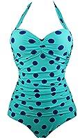 Cocoship 50s Retro Navy Blue Aqua Polka Dot One Piece Pin Up Monokinis Swimsuit(FBA)