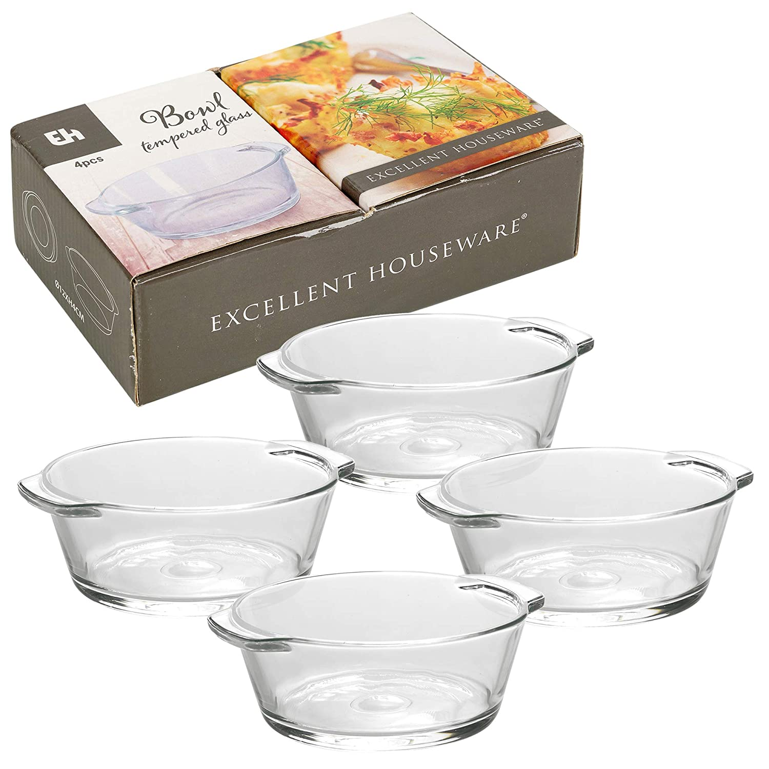 4 Pcs Tempered Glass Bowl Set for Cooking & Baking in Ovens & Microwaves