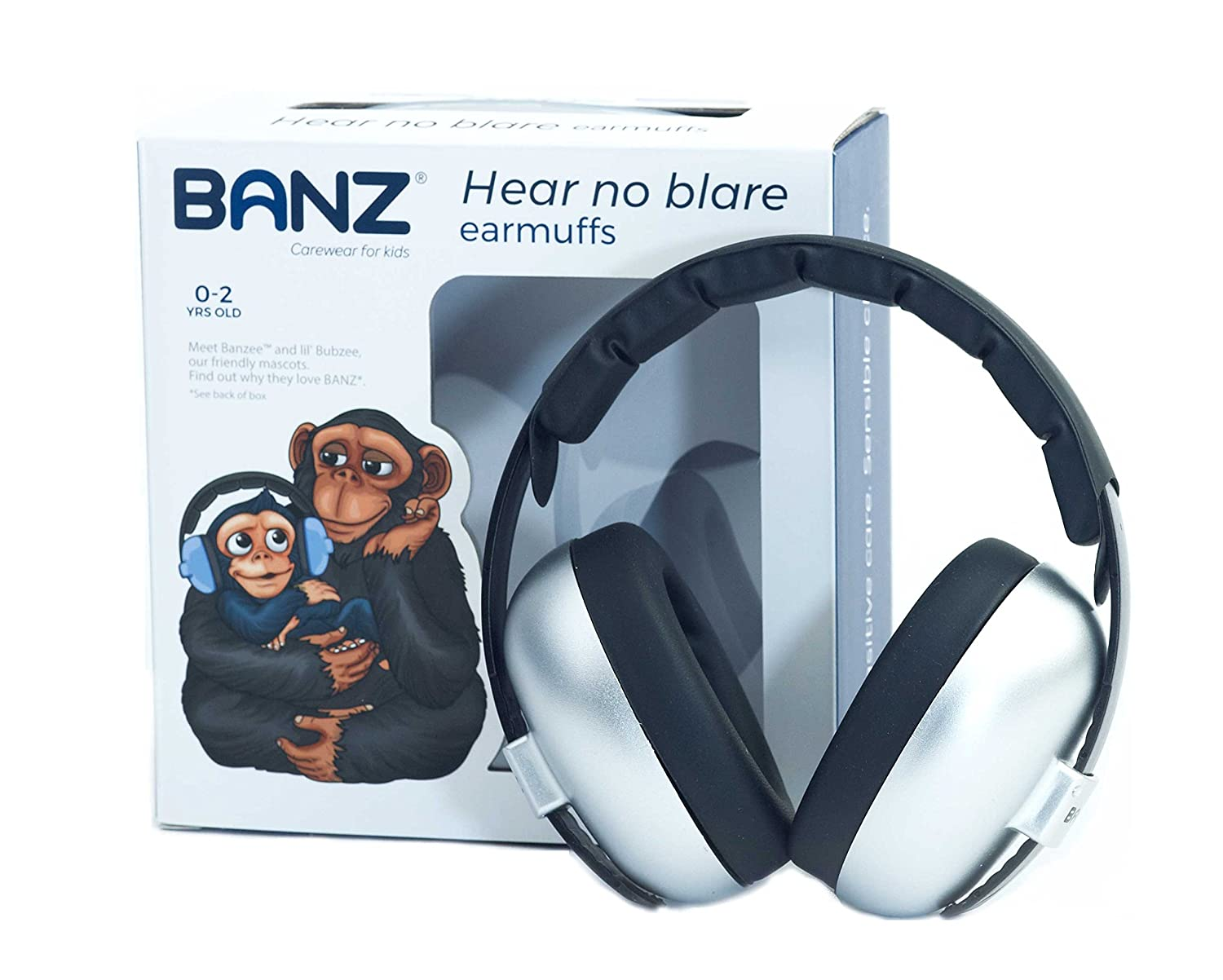 Banz Bubzee Baby Hearing Protection Earmuffs, from 3 Months - 2 Years, Silver.
